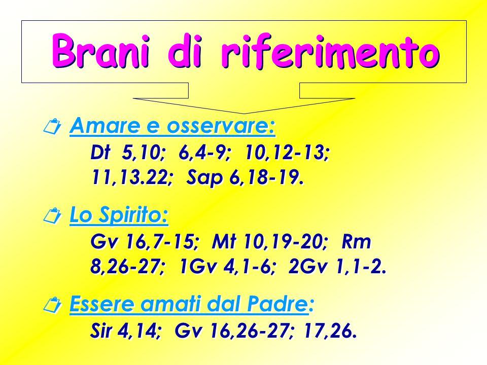 Brani di riferimento  Amare e osservare: Dt 5,10; 6,4-9; 10,12-13; 11,13.22; Sap 6,18-19.