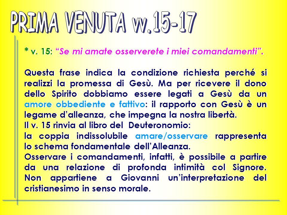 PRIMA VENUTA vv.15-17 * v. 15: Se mi amate osserverete i miei comandamenti .