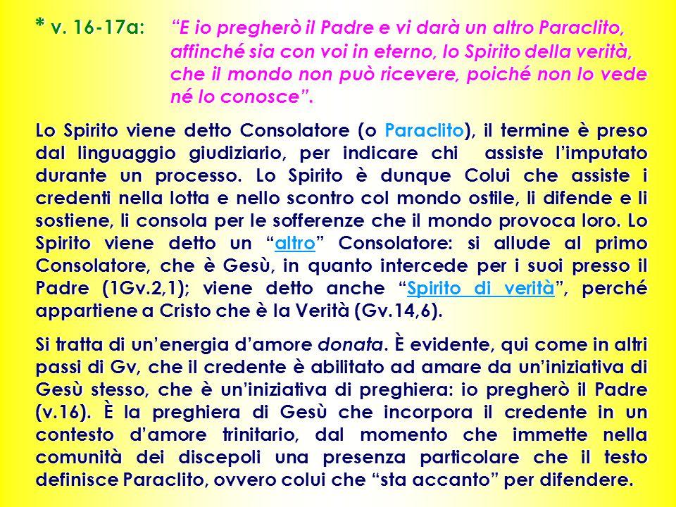 v. 16-17a:. E io pregherò il Padre e vi darà un altro Paraclito,