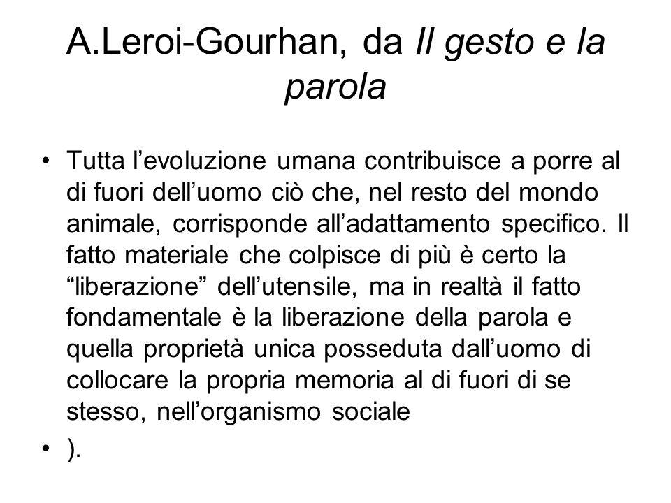 A.Leroi-Gourhan, da Il gesto e la parola