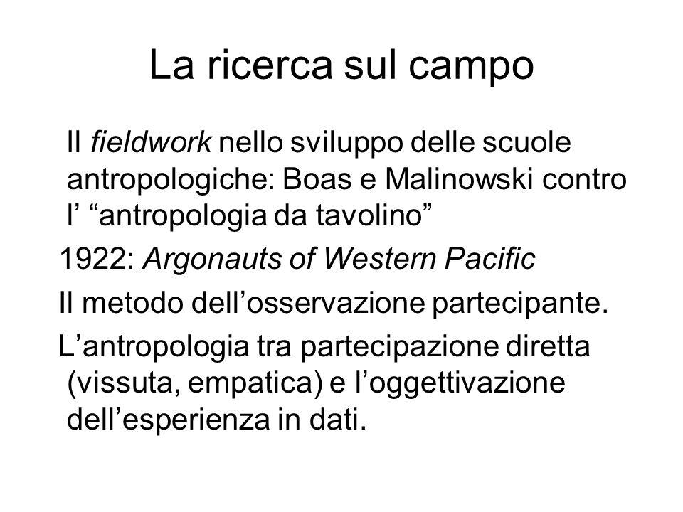 La ricerca sul campo Il fieldwork nello sviluppo delle scuole antropologiche: Boas e Malinowski contro l' antropologia da tavolino