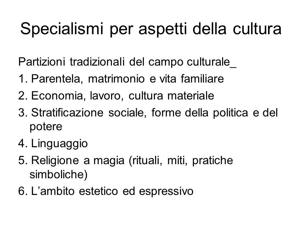 Specialismi per aspetti della cultura