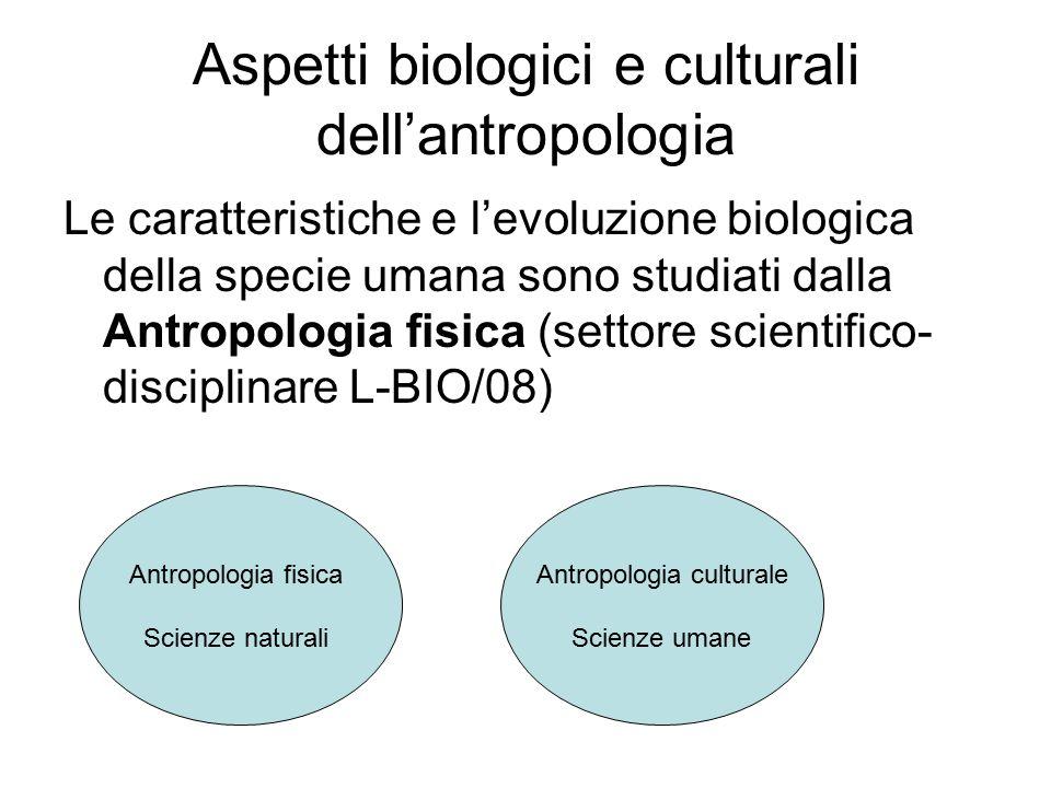 Aspetti biologici e culturali dell'antropologia