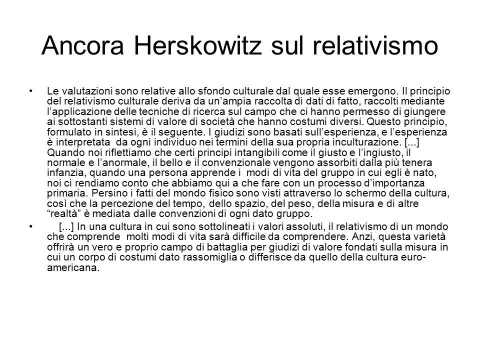 Ancora Herskowitz sul relativismo
