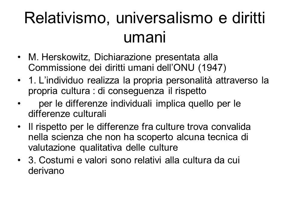 Relativismo, universalismo e diritti umani