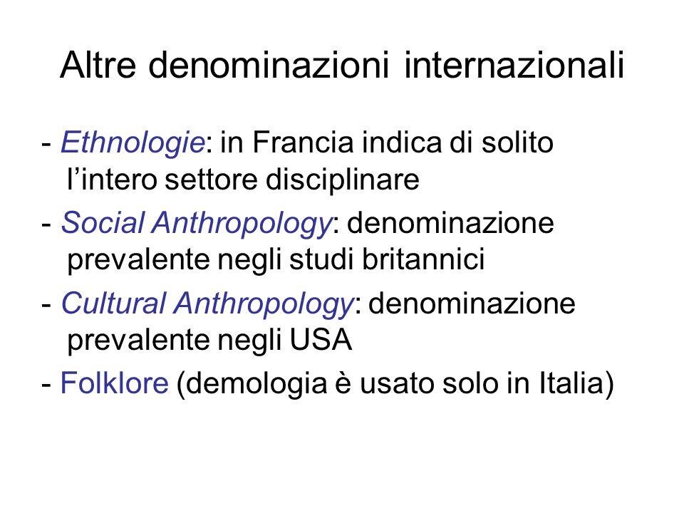 Altre denominazioni internazionali