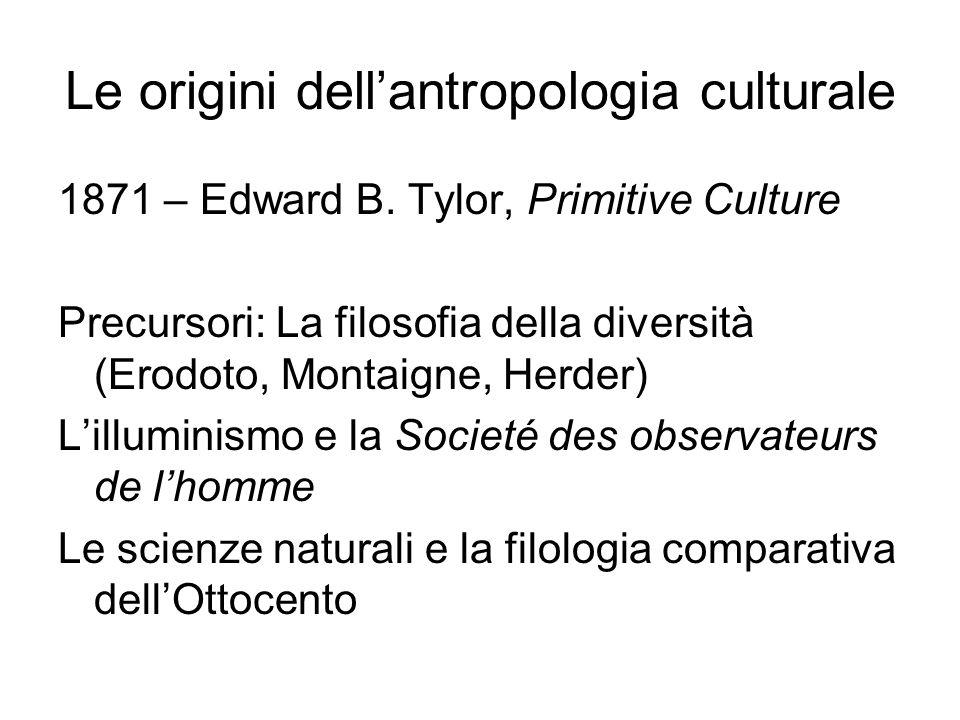 Le origini dell'antropologia culturale