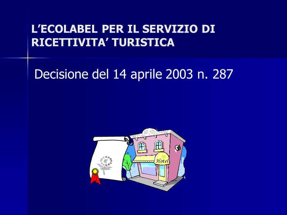 L'ECOLABEL PER IL SERVIZIO DI RICETTIVITA' TURISTICA