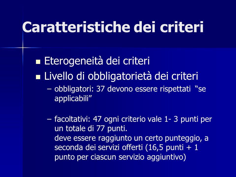 Caratteristiche dei criteri