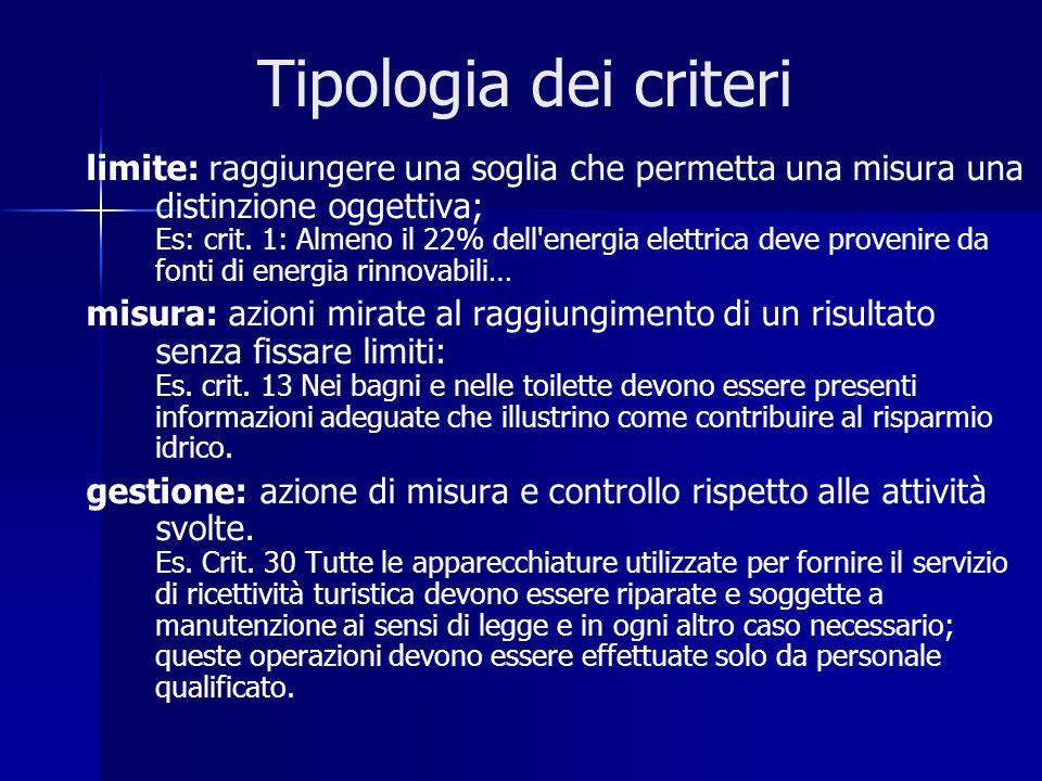 Tipologia dei criteri