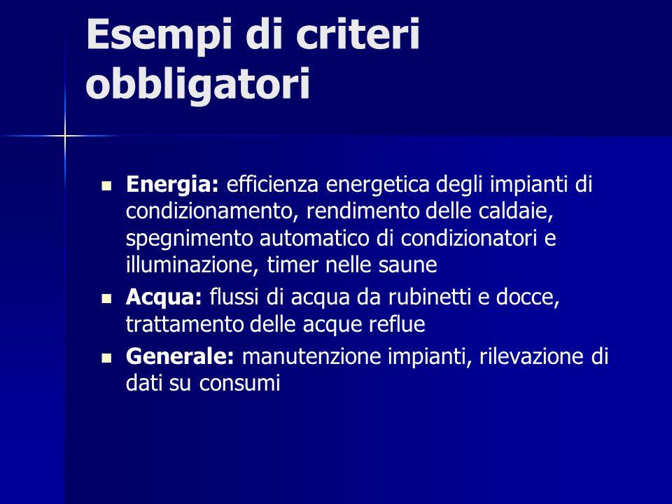 Esempi di criteri obbligatori