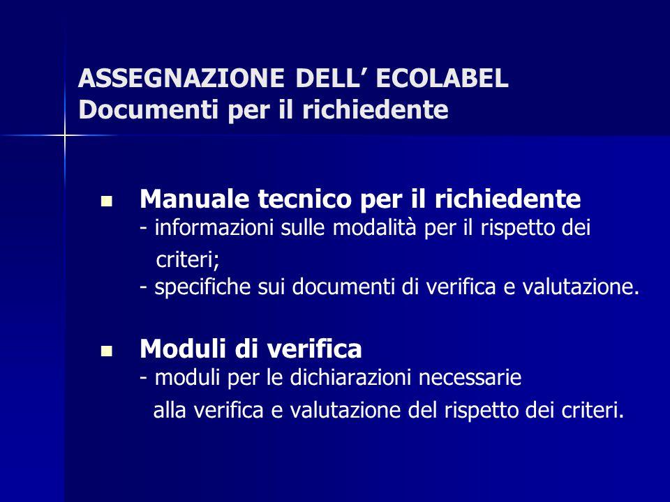 ASSEGNAZIONE DELL' ECOLABEL Documenti per il richiedente