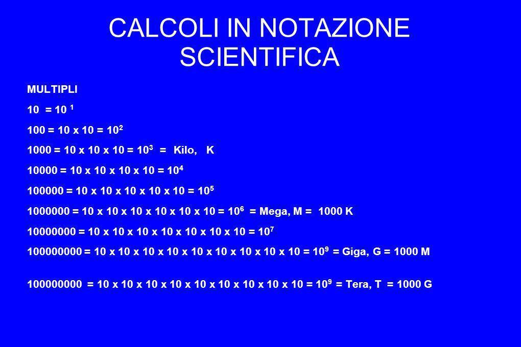 CALCOLI IN NOTAZIONE SCIENTIFICA