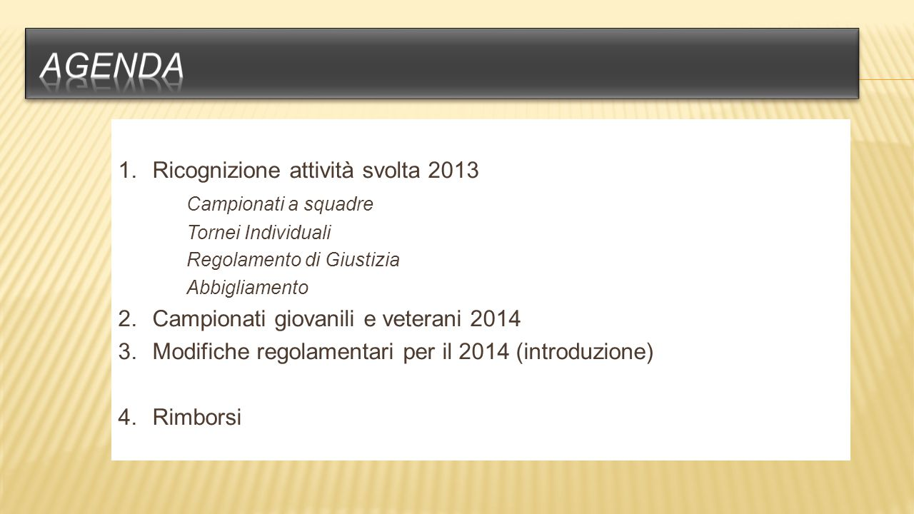 Ricognizione attività svolta 2013 Campionati a squadre