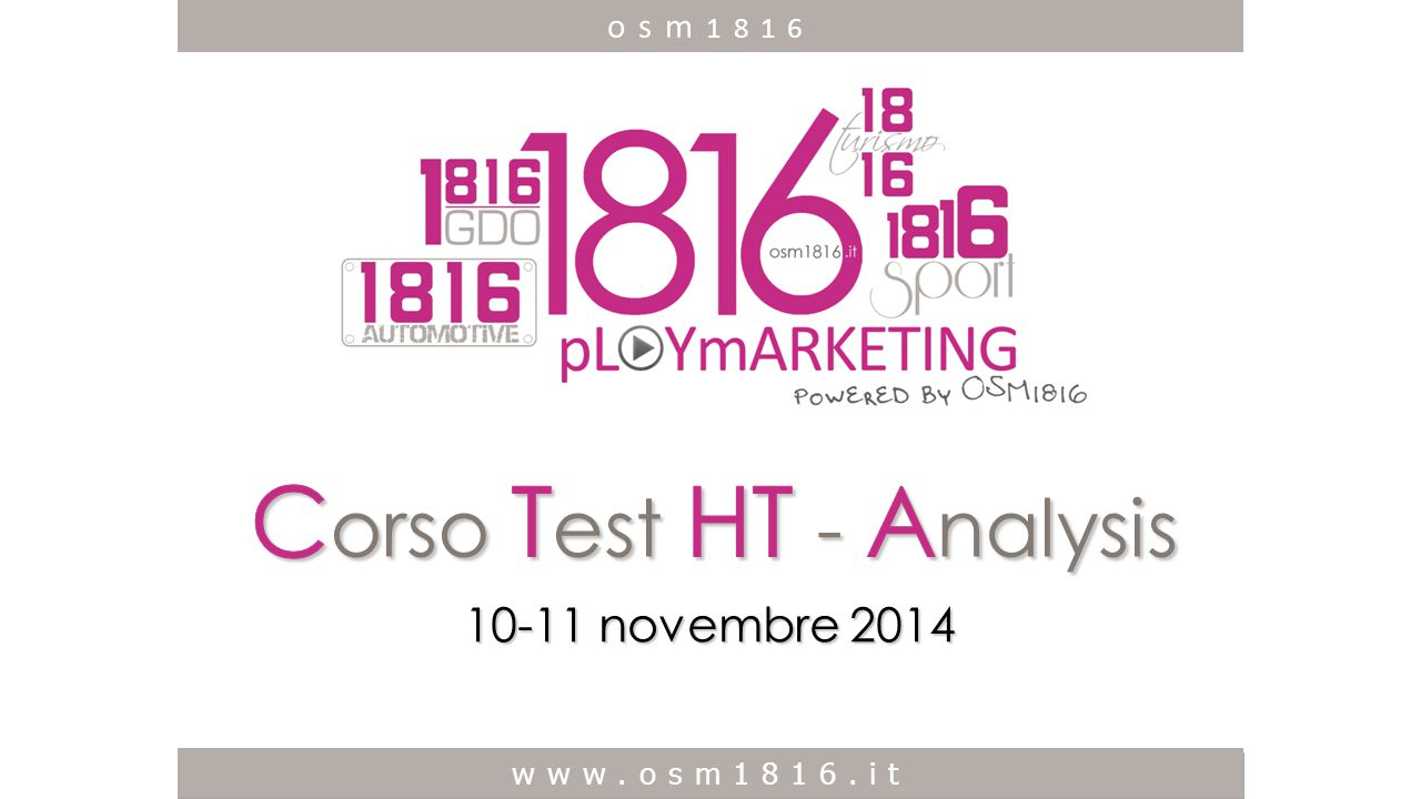 Corso Test HT - Analysis