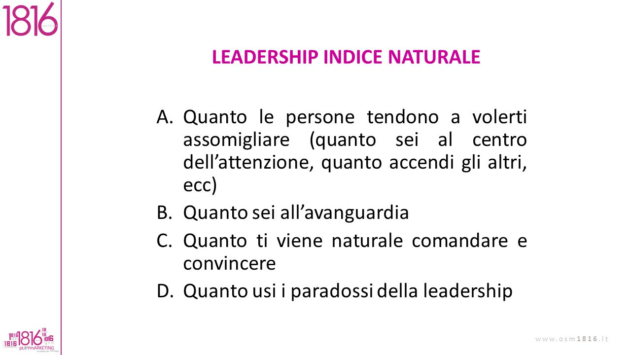 LEADERSHIP INDICE NATURALE
