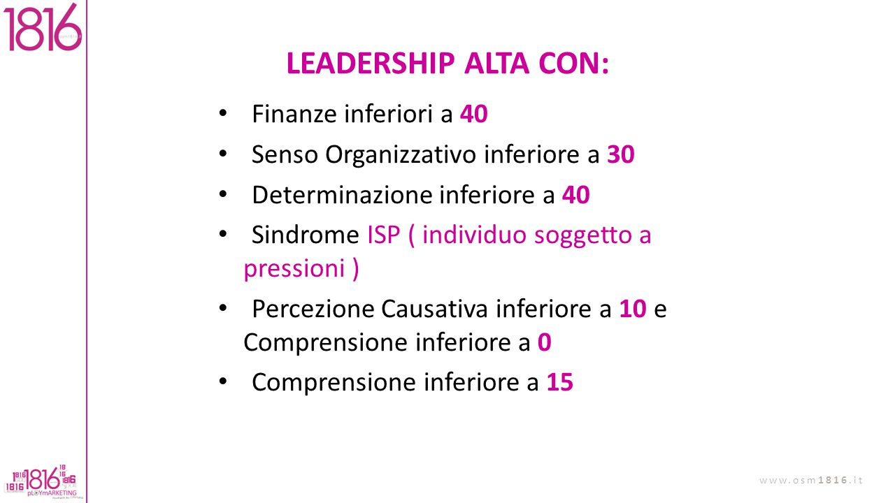 LEADERSHIP ALTA CON: Finanze inferiori a 40
