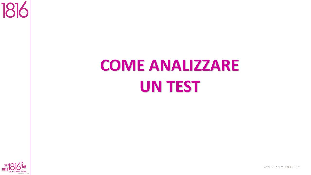 COME ANALIZZARE UN TEST