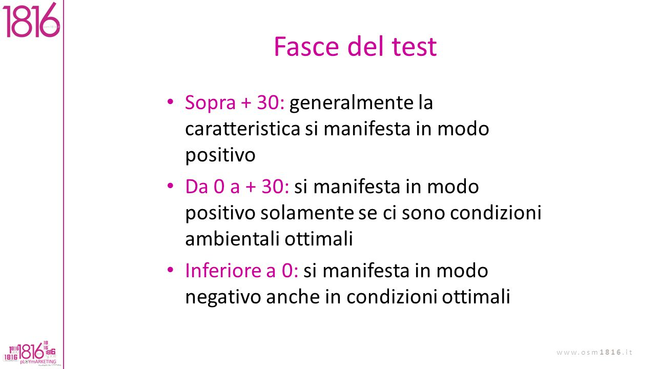 Fasce del test Sopra + 30: generalmente la caratteristica si manifesta in modo positivo.