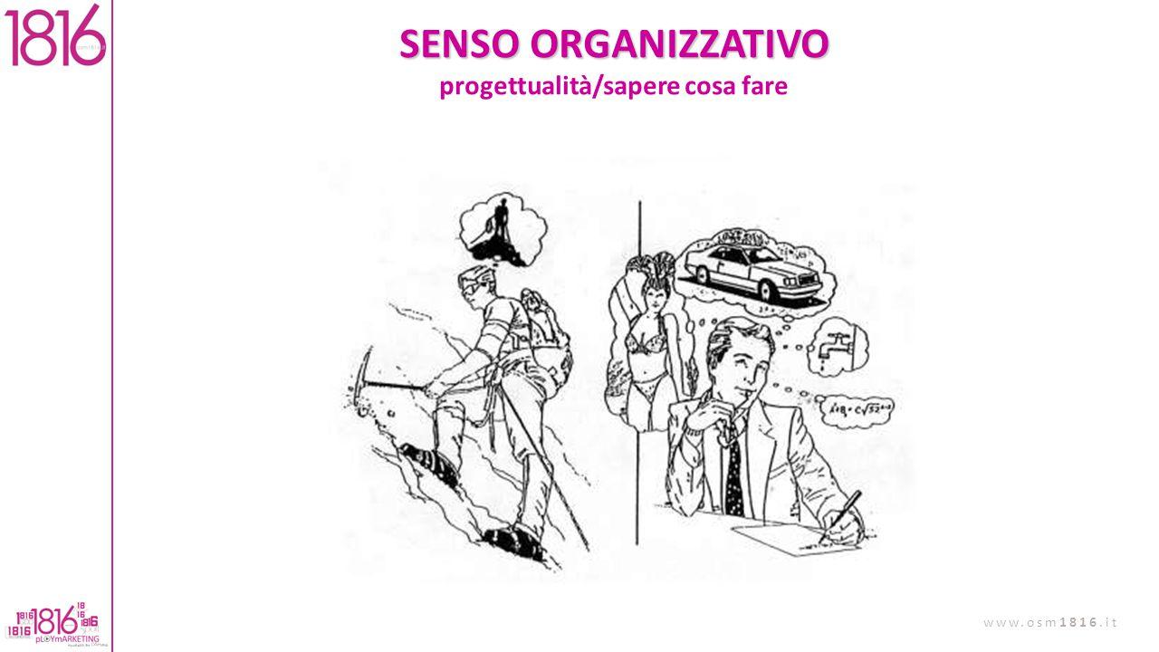 SENSO ORGANIZZATIVO progettualità/sapere cosa fare