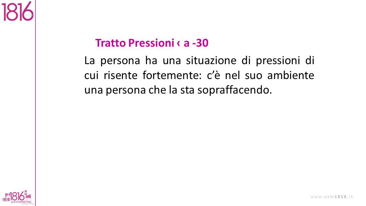 Tratto Pressioni ‹ a -30 La persona ha una situazione di pressioni di cui risente fortemente: c'è nel suo ambiente una persona che la sta sopraffacendo.