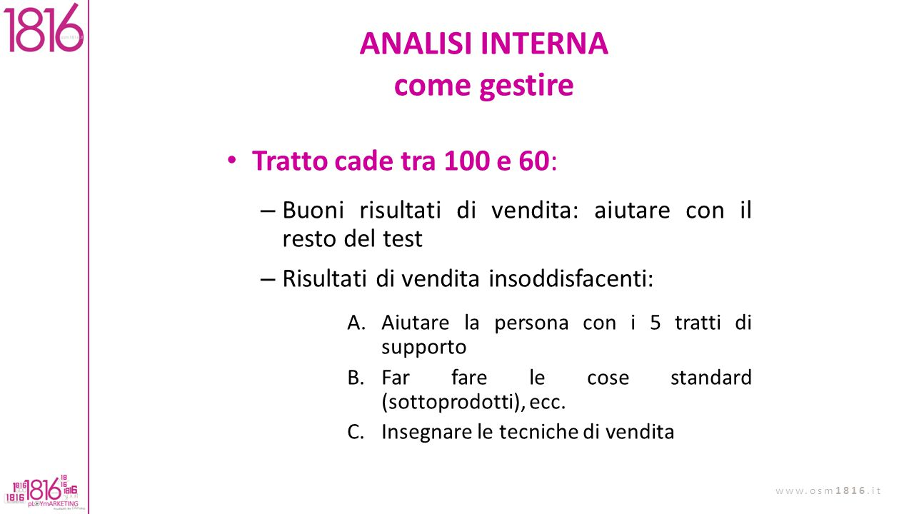 ANALISI INTERNA come gestire
