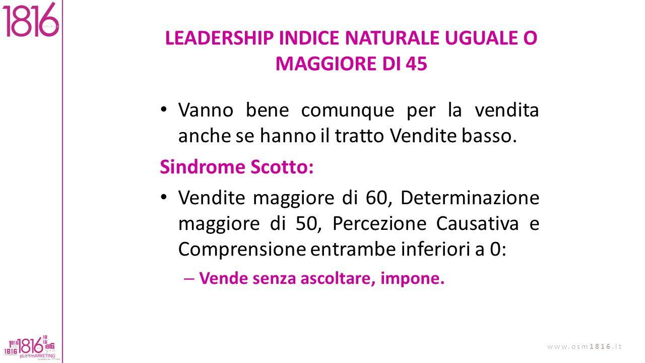 LEADERSHIP INDICE NATURALE UGUALE O MAGGIORE DI 45