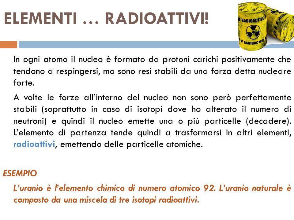 ELEMENTI … RADIOATTIVI!