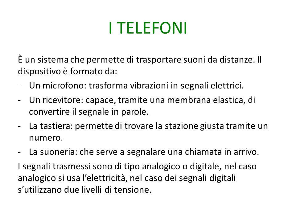 I TELEFONI È un sistema che permette di trasportare suoni da distanze. Il dispositivo è formato da: