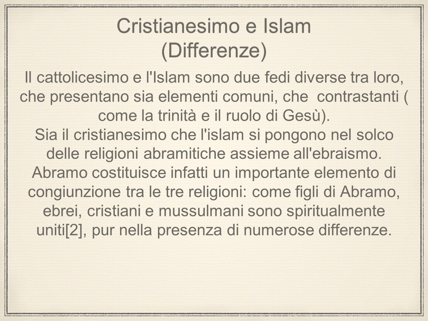 Cristianesimo e Islam (Differenze)