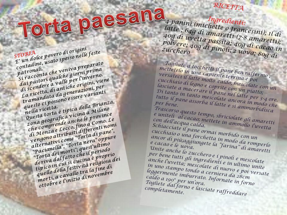 Torta paesana RICETTA Ingredienti:
