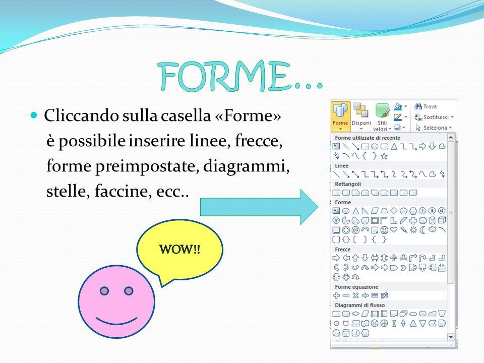 FORME… Cliccando sulla casella «Forme»