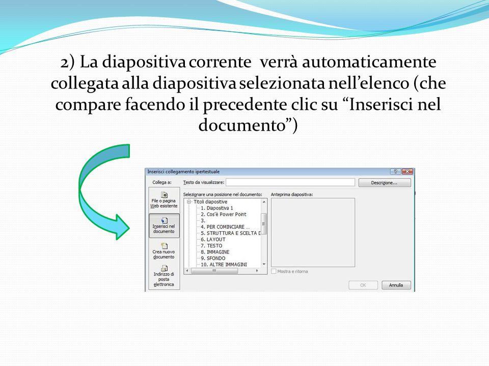 2) La diapositiva corrente verrà automaticamente collegata alla diapositiva selezionata nell'elenco (che compare facendo il precedente clic su Inserisci nel documento )