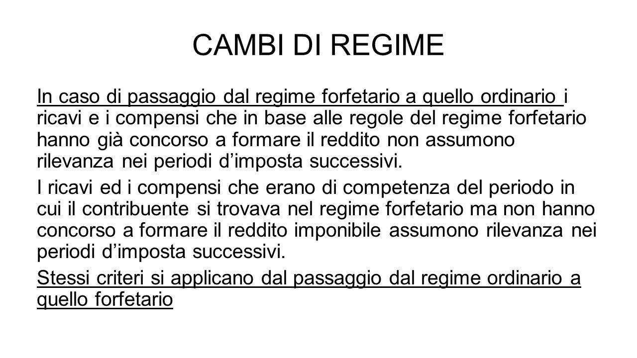 CAMBI DI REGIME