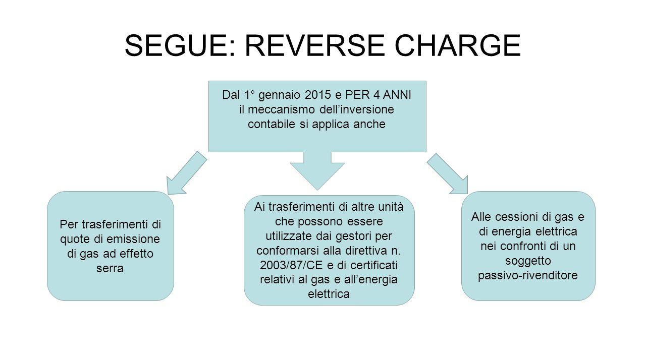 SEGUE: REVERSE CHARGE Dal 1° gennaio 2015 e PER 4 ANNI