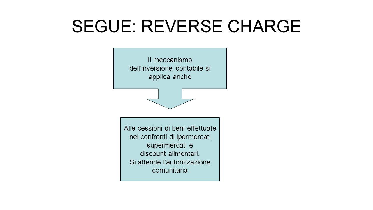 SEGUE: REVERSE CHARGE Il meccanismo dell'inversione contabile si