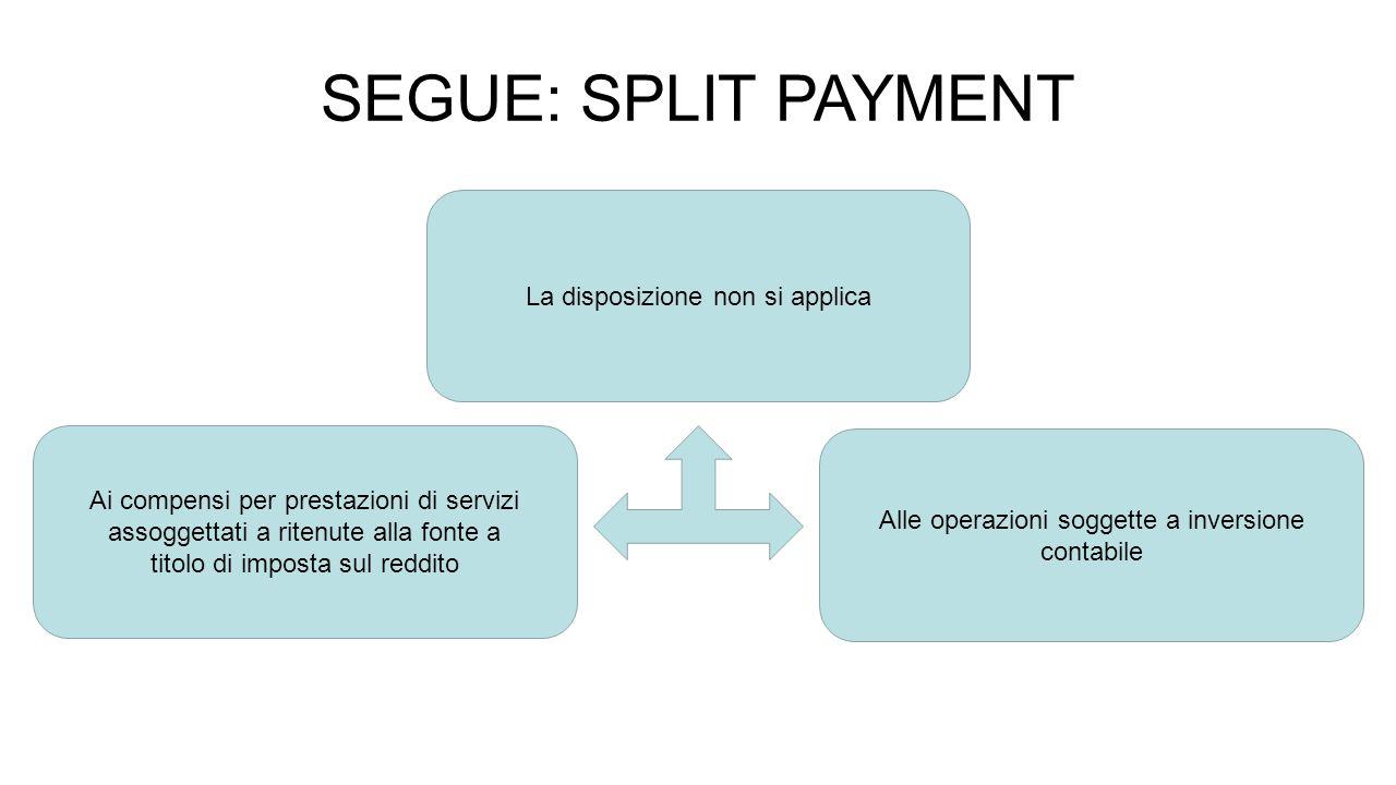 SEGUE: SPLIT PAYMENT La disposizione non si applica