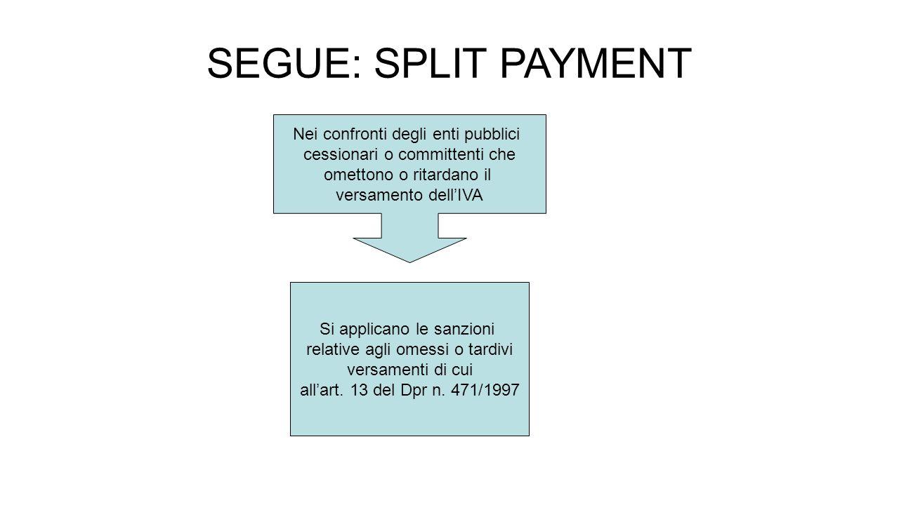 SEGUE: SPLIT PAYMENT Nei confronti degli enti pubblici