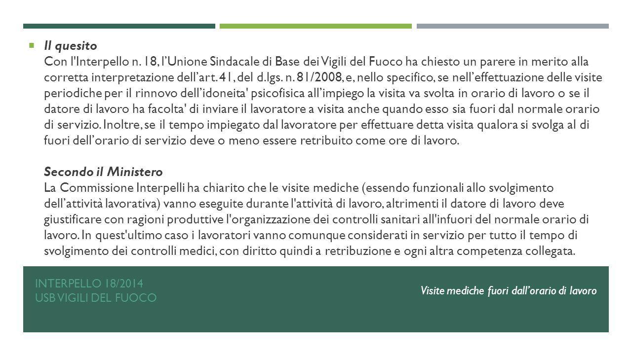 Interpello 18/2014 USB VIGILI DEL FUOCO