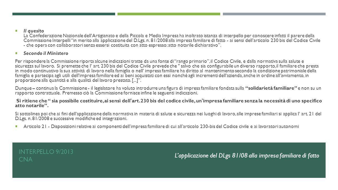 L'applicazione del DLgs 81/08 alla impresa familiare di fatto