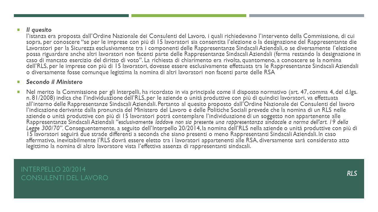 Interpello 20/2014 Consulenti del lavoro