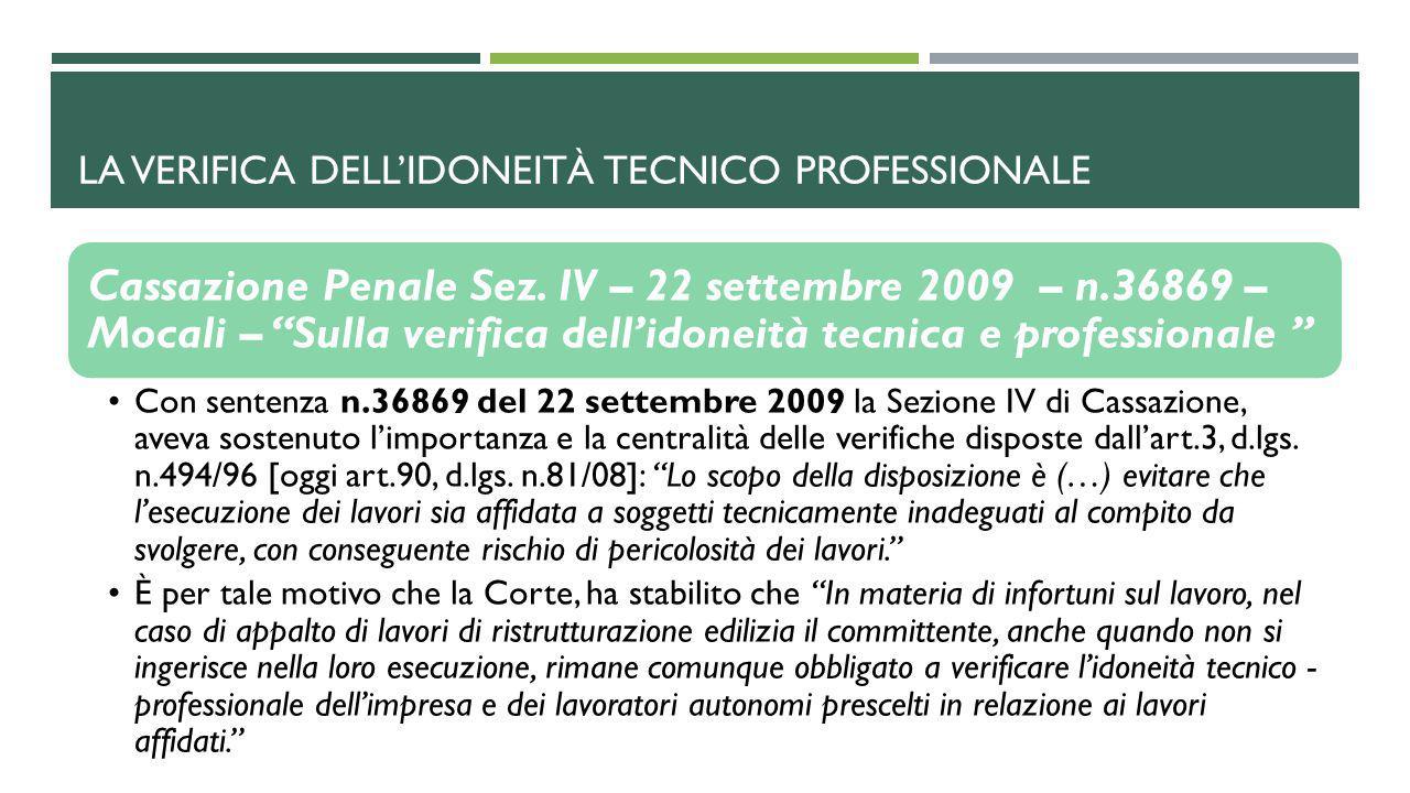 LA VERIFICA DELL'IDONEITà TECNICO PROFESSIONALE