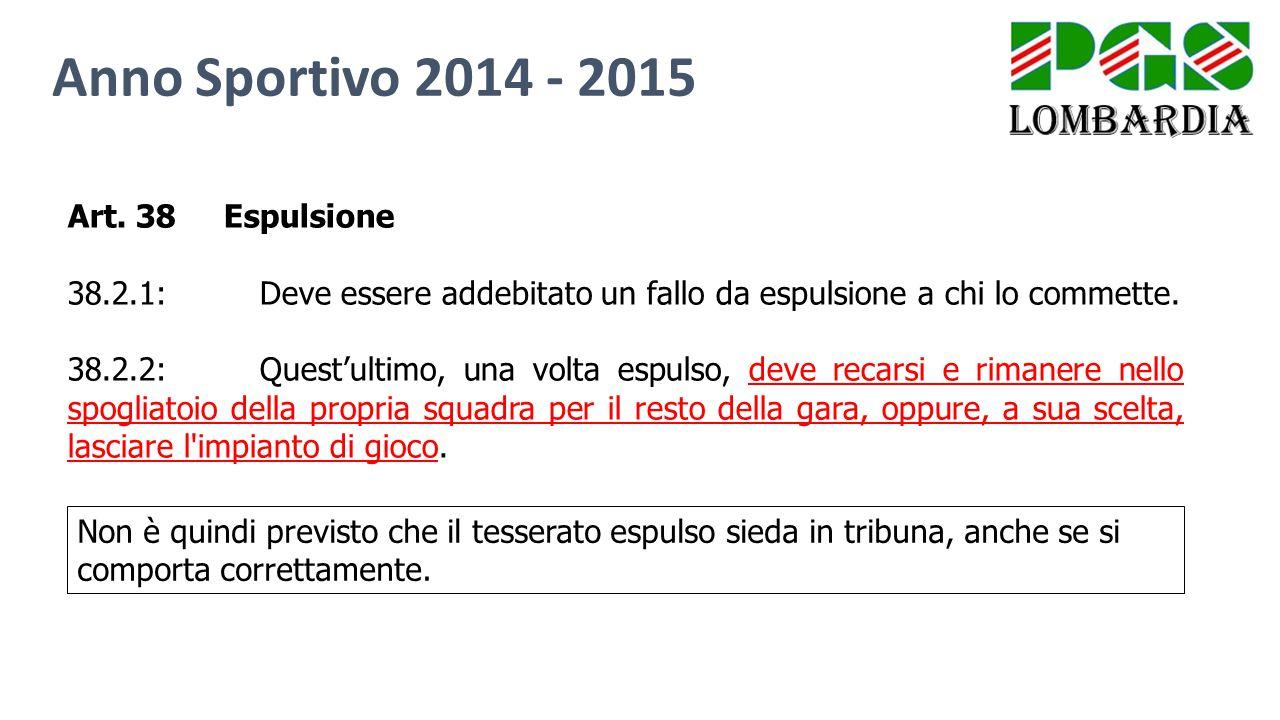 Anno Sportivo 2014 - 2015 Art. 38 Espulsione