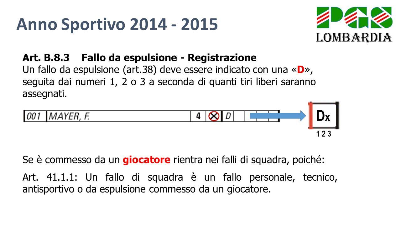 Anno Sportivo 2014 - 2015 Art. B.8.3 Fallo da espulsione - Registrazione. Un fallo da espulsione (art.38) deve essere indicato con una «D»,
