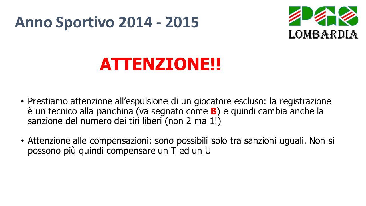 Anno Sportivo 2014 - 2015 ATTENZIONE!!