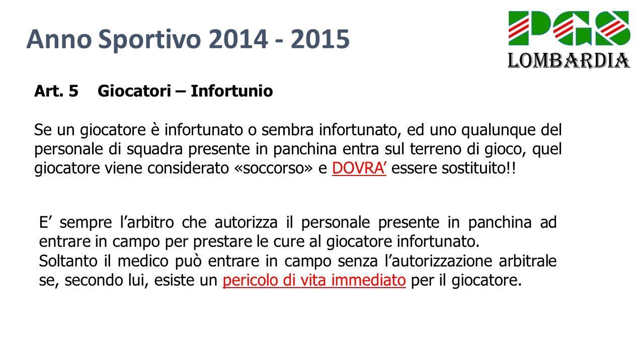 Anno Sportivo 2014 - 2015 Art. 5 Giocatori – Infortunio