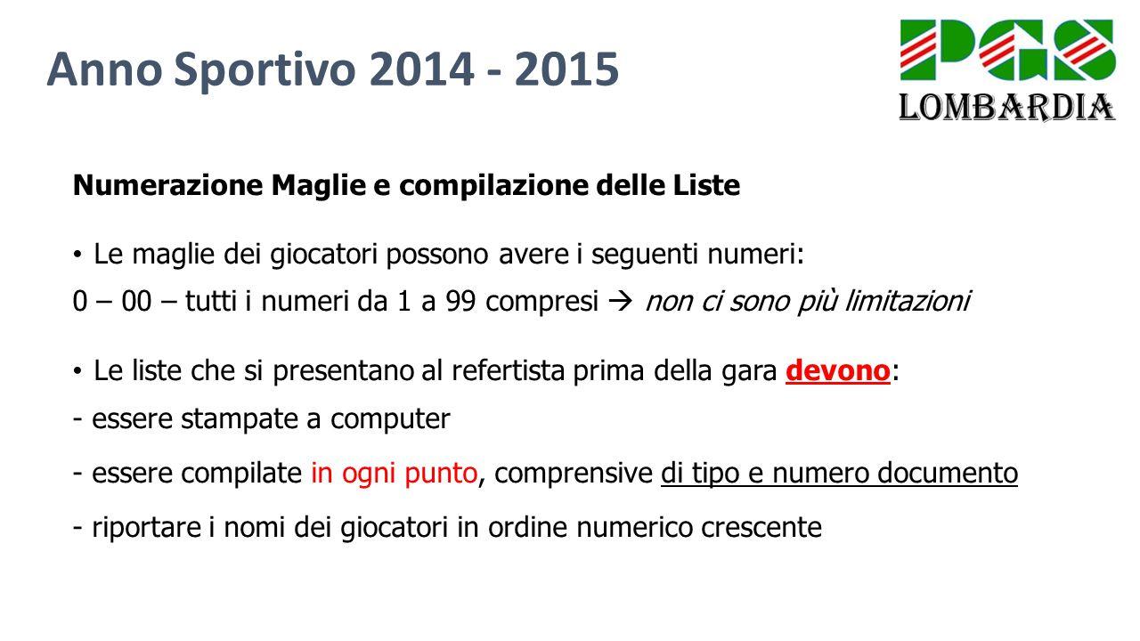 Anno Sportivo 2014 - 2015 Numerazione Maglie e compilazione delle Liste. Le maglie dei giocatori possono avere i seguenti numeri:
