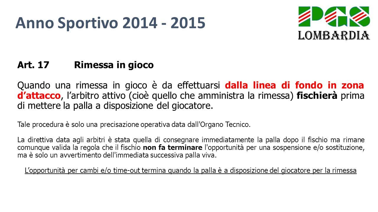 Anno Sportivo 2014 - 2015 Art. 17 Rimessa in gioco