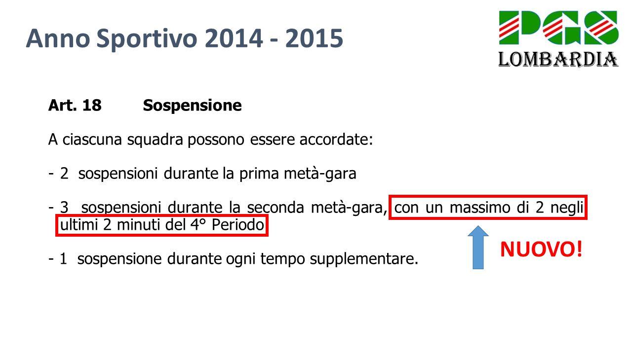 Anno Sportivo 2014 - 2015 NUOVO! Art. 18 Sospensione