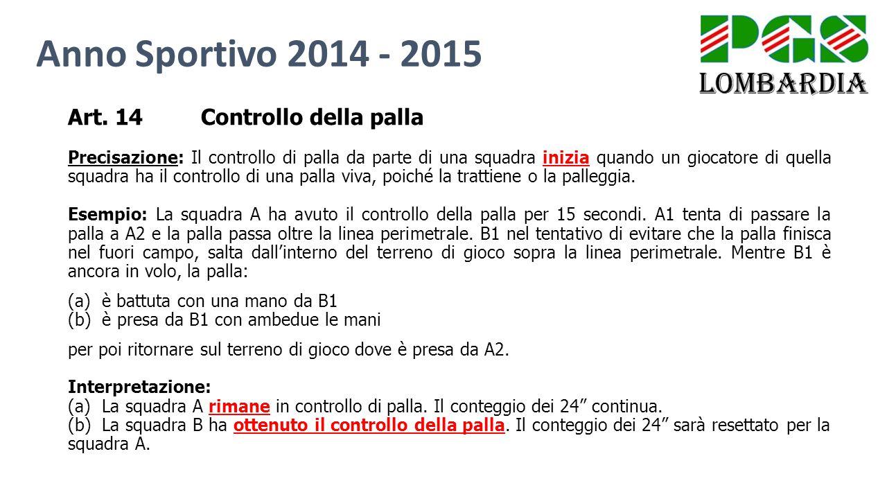 Anno Sportivo 2014 - 2015 Art. 14 Controllo della palla